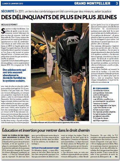 La page 3 de 20 minutes Montpellier du 23 janvier 2012