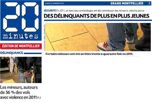 20 minutes sur la délinquance des mineurs (montage de l'édition du 23 janvier 2012)