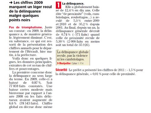 """Midi Libre et """"la délinquance générale"""" (extraits des éditions des 26/01/12, 26/01/11, 19/01/10)"""