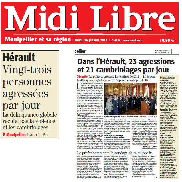La délinquance dans Midi Libre du 26 janvier 2012