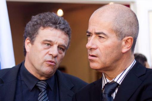 Rémy Vernier et Christian Bourquin le 8 ocobre 2010 lors de l'inauguration des nouveaux locaux du Club de la presse de Montpellier (photo : J.-O. T.)