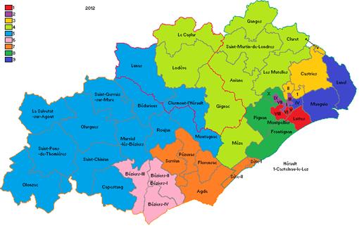 Les circonscriptions de l'Hérault pour les législatives 2012 (source : Wikipedia, auteur Polnico62240)