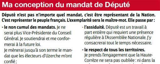 Sophie Dessus (PS) indique qu'elle va conserver son mandat de maire d'Uzerche dans un tract pour l'élection législative de 2012
