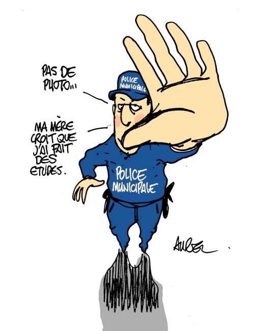 Un dessin d'Aurel sur la police municipale et les photos
