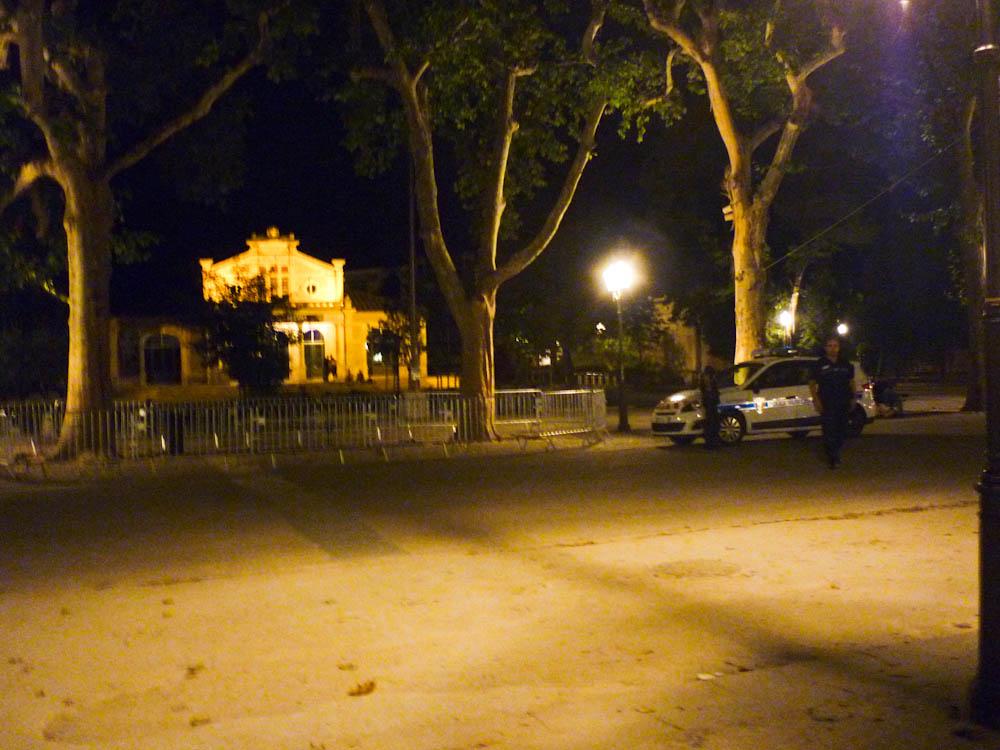 Le 19 juillet vers 11h45, deux policiers municipaux gardent deux platanes sur l'Esplanade de Montpellier (photo : Jacques-Olivier Teyssier)