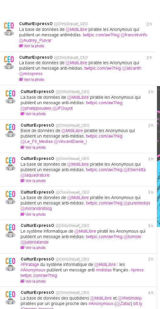 Capture d'écran des tweets de @ChrisGreuet_CEO vers 14h30 le 19 septembre 2012