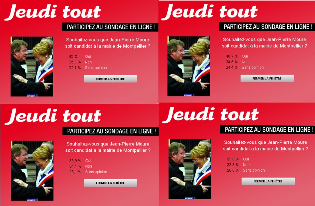 Sondage Jeudi tout - Jean-Pierre Moure (copies d'écran du site de Jeudi tout)