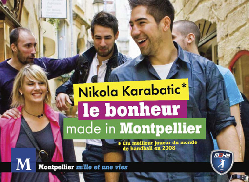 Affiche de la campagne de la ville de Montpellier avec de gauche à droite Vic Kavticnik, Luka Karabatic, Rémi Salou, Marine Canayer, Nikola Karabatic (source : dossier de presse de la ville)