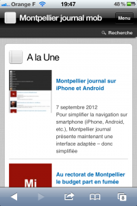 Montpellier journal sur iPhone (copie d'écran sur iPhone)
