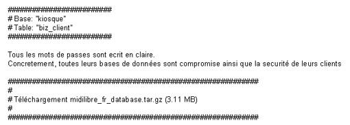 Extrait de ce qu'a publié le pirate des base de données Midi Libre le 18 septembre 2012