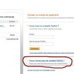 Comment payer sur Paypal sans compte Paypal (copie d'écran du site Paypal)