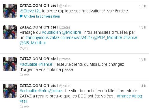 Copie d'écran du fil Twitter zataz.com le mercredi 19 septembre à 9h