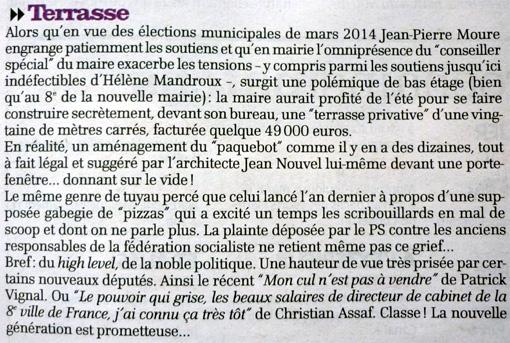 La terrasse d'Hélène Mandroux dans La Gazette de Montpellier du 11 octobre 2012