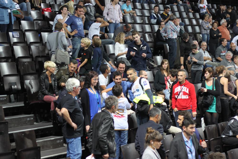 Nikola Karabatic dans les tribunes de l'Arena pour le match Montpellier-Dunkerque (photo : J.-O. T.)
