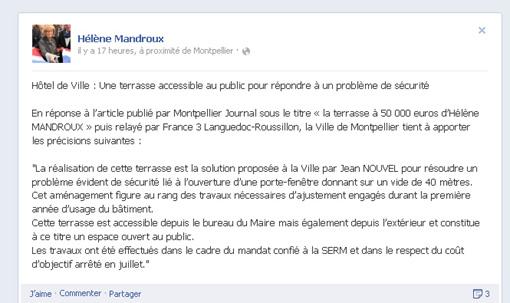 La terrasse du 8e étage de l'hôtel de ville de Montpellier sur la page Facebook d'Hélène Mandroux (copie d'écran)