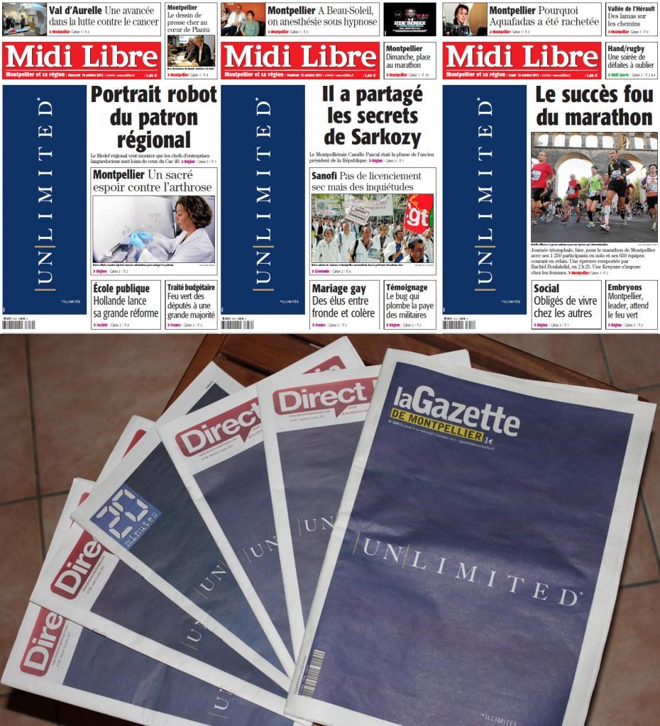Le début de la campagne Montpellier unlimited dans les journaux locaux