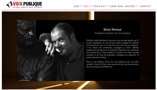 Brice Renoux sur le site de l'agence Voix publique (copie d'écran)