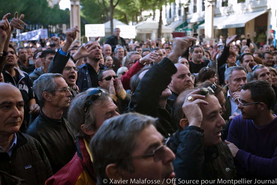 Manifestation contre la CFE à l'hôtel d'agglomération de Montpellier (photo : Xavier Malafosse)