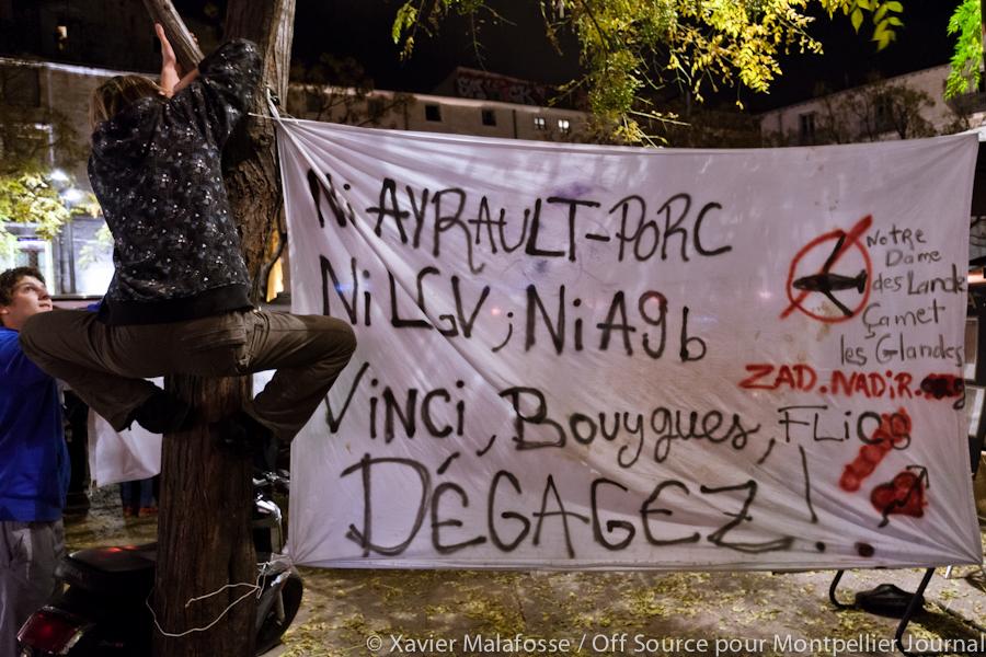 Banderole lors de la manifestation de Montpellier contre l'aéroport de Notre-Dame-des-Landes le 23 novembre 2012 (photo : Xavier Malafosse)