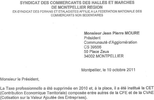 Entête de la lettre de Jean-Pierre Touchat à Jean-Pierre Moure datée du 10 octobre 201 sur la Cotisation foncière des entreprises