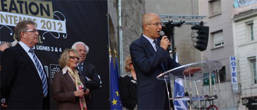 Jean-Pierre Moure, Hélène Mandroux, André Vezinhet et Christian Bourquin lors de l'inauguration des lignes 3 et 4 du tramway de Montpellier le 6 avril 2012 (photo : J.-O. T.)