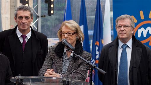 Philippe Saurel, Hélène Mandroux et Jean-Pierre Moure le 8 décembre 2010 à Montpellier (photo : J.-O. T.)