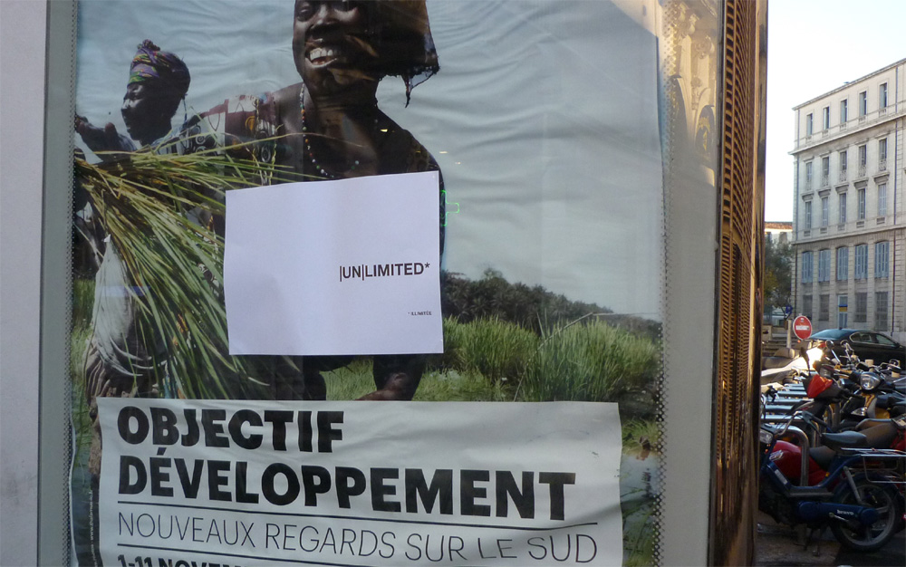 Détournement de la campagne Montpellier unlimited sur un panneau d'affichage de la capitale régionale le 12 novembre 2012(photo : J.-O. T.)