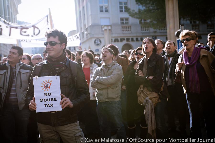 Manifestation de chefs d'entreprise contre l'augmentation de la CFE le 15 novembre 2012 devant l'hôtel d'agglomération de Montpellier (photo : Xavier Malafosse)