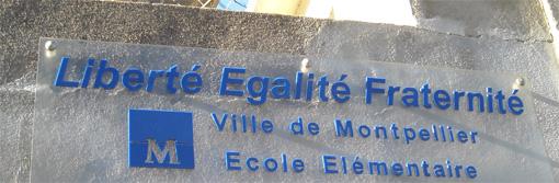 Devant une école élementaire de Montpellier (photo : J.-O. T.)