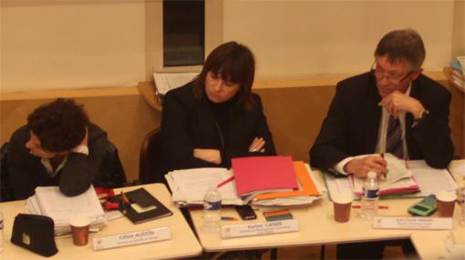 Karine Caner (au centre) le 20 décembre 2012 en conseil d'agglo de Montpellier (photo : J.-O. T.)