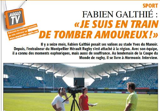 Fabien Galthié dans Harmonie de novembre 2011, le magazine de l'agglomération de Montpellier