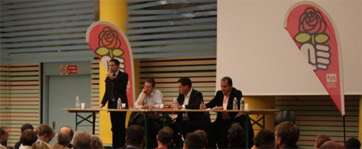 Abdi El Kandoussi, Olivier Dedieu, Laurent Pradeille et Hussein Bourgi lors de l'assemblée générale de présentation des candidats au poste de premier fédéral socialiste de l'Hérault à Montpellier le 13 novembre 2012 (photo : J.-O. T.)