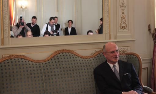 Pierre de Bousquet de Florian le 14 janvier 2013 face à la presse (photo : J.-O. T.)