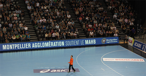 Lors du match MAHB - Dunkerque le 25 octobre 2012  l'Arena de Montpellier (photo : J.-O. T.)