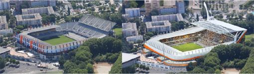 Stade de la Mosson avant et après la réhabiliation livrable en 2017 (documents : A+ architecture)
