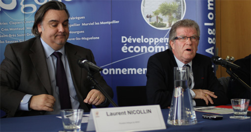 Laurent Nicollin, prsident dlgu du MHSC et Jean-Pierre Moure, prsident de l'agglomration de Montpellier le 6 fvrier 2013 (photo : J.-O. T.)