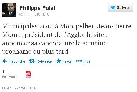 Philippe Palat, le 22 février 2013 vers 16h, sur la candidature de Jean-Pierre Moure à la mairie de Montpellier (copie d'écran Twitter)