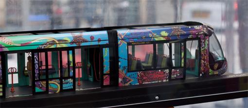 Maquette d'une rame de la ligne 3 du tramway de Montpellier (photo : J.-O. T.)