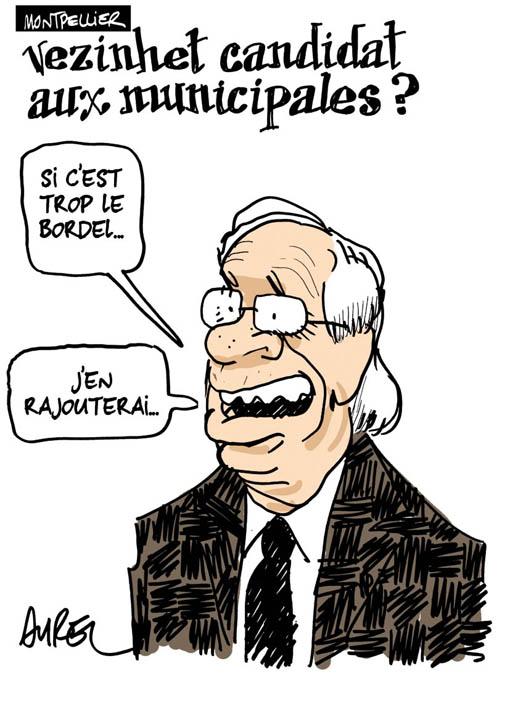 André Vezinhet candidat aux munipales à Montpellier en 2014 ? (dessin : Aurel)