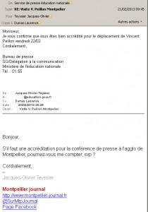 Accréditation de Montpellier journal pour la visite de Vincent Peillon, ministre de l'éducation nationale, le 22 février 2013