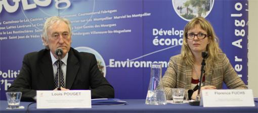 Louis Pouget, vice-président de l'agglomération de Montpellier en charge de l'eau et de l'assainissement et Florence Fuchs, directrice de ce même domaine à l'agglo, le 28 février 2013 (photo : J.-O. T.)