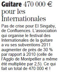 Midi Libre du 7 avril 2013 sur les subventions aux Internationales de la guitare