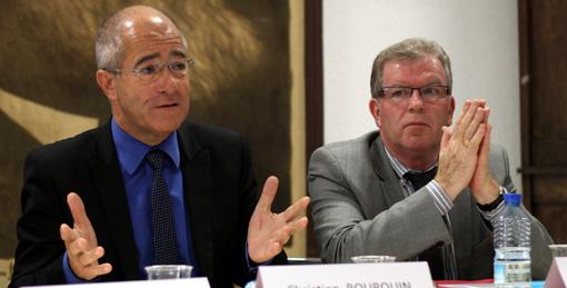 Christian Bourquin, président de la région Languedoc-Roussillon et Jean-Pierre Moure, président de l'agglo de Montrpellier le 30 novembre 2011 (photo : J.-O. T.)