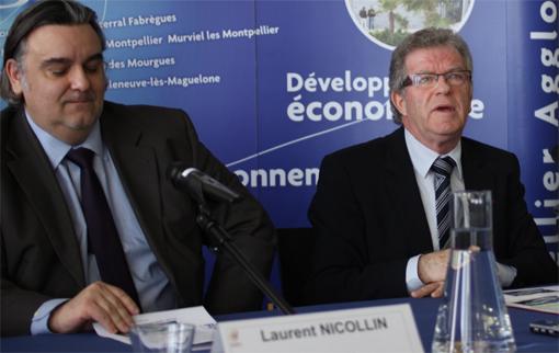 Laurent Nicollin, fils de Louis et président délégué du MHSC et Jean-Pierre Moure, président de l'agglomération de Montpellier le 6 février 2013 (photo : J.-O. T.)