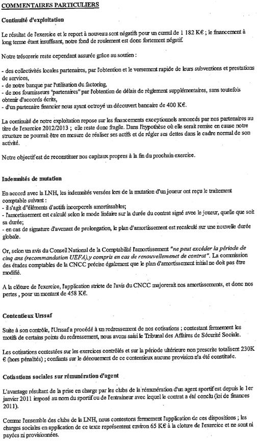 Extrait des comptes annuels du MAHB clos le 30 juin 2012