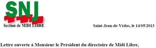 Entête de la lettre ouverte du SNJ de Midi Libre à Alain Plombat, président du directoire du groupe