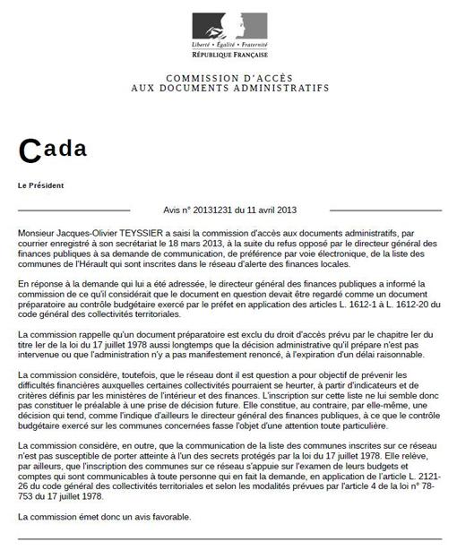 L'avis du 11 avril 2013 de la Cada sur le Réseau d'alerte des finances locales