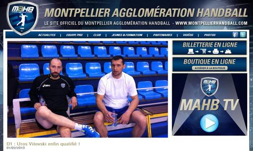 Annonce de la qualification de Uros Vilovski (à droite) sur le site du MAHB le 1er février 2013 (copie d'écran)