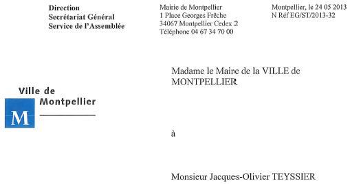 """Entête du courrier de la ville de Montpellier sur l'absence de """"répertoire des invités"""" aux matchs du MHSC, MAHB et MHRC"""