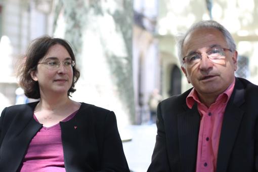 Muriel Ressiguier et René Revol du Parti de gauche de l'Hérault, le 10 juin 2013 (photo : J.-O. T.)